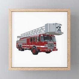 Fire Engine Truck with Ladder Framed Mini Art Print