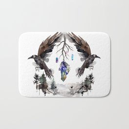 Black Ravens In The Crystal Woods Bath Mat