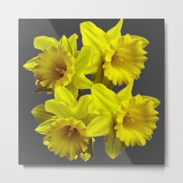 YELLOW SPRING DAFFODILS & CHARCOAL GREY COLOR Metal Print