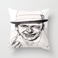 frank sinatra Throw Pillows featuring Frank by Paul Nelson-Esch Art