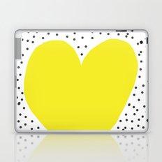 Yellow heart with grey dots around Laptop & iPad Skin