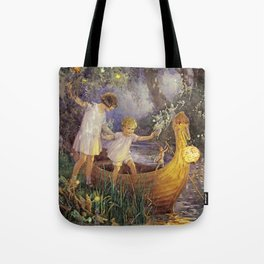 """""""Boat To Fairyland"""" by Margaret Tarrant Tote Bag"""
