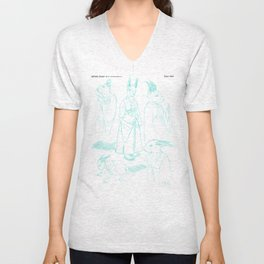 Sharp Tooth character design, pencils Unisex V-Neck
