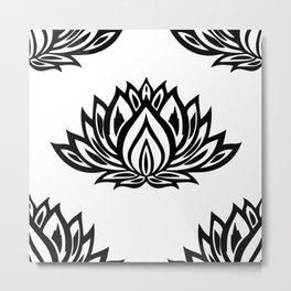 Black and White Lotus Pattern Metal Print
