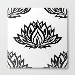 Black and White Lotus Pattern Metal Print