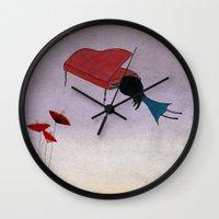 piano Wall Clocks featuring Piano by viola'