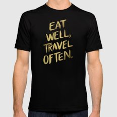 Eat Well Travel Often on Gold Mens Fitted Tee Black LARGE
