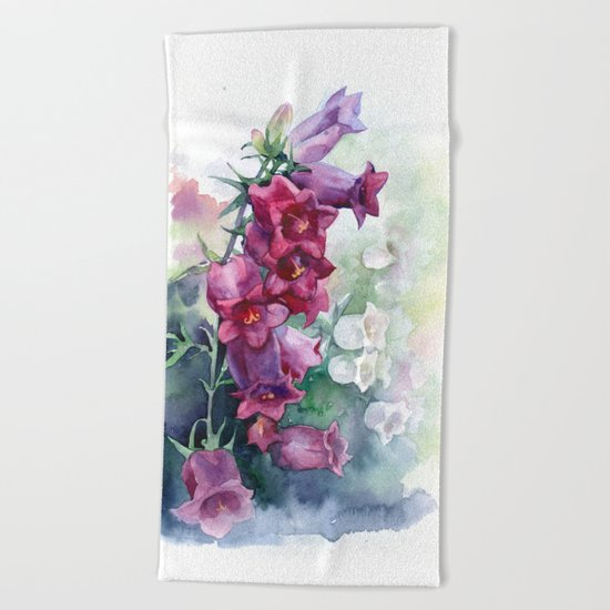 Campanula watercolor flowers aquarelle bellflowers Beach Towel