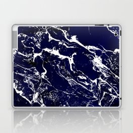 Modern Navy blue watercolor marble pattern Laptop & iPad Skin