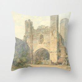 "J.M.W. Turner ""Saint Augustine's Gate, Canterbury"" Throw Pillow"