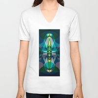 crocodile V-neck T-shirts featuring Crocodile by youareconstance
