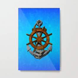 Nautical Ships Wheel And Anchor Metal Print