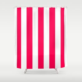 Folly fuchsia - solid color - white vertical lines pattern Shower Curtain