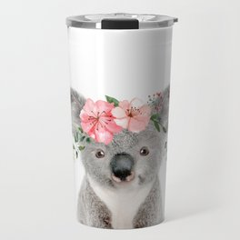 Baby Koala with Flower Crown Travel Mug