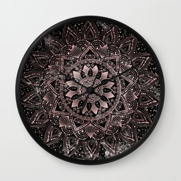 Elegant rose gold mandala dots and marble artwork Wall Clock