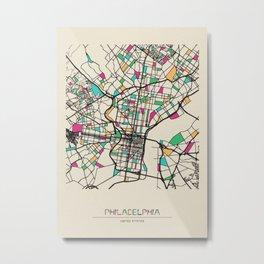 Colorful City Maps: Philadelphia, Pennsylvania Metal Print