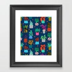 Check It - house plants indoor monstera neon bright modern pattern retro throwback memphis style Framed Art Print