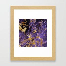 Ultra Violet Gold Marble Metallic Foil Framed Art Print