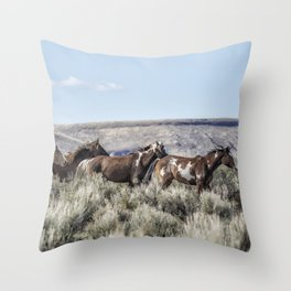 Horses Running On Steens Mountain Throw Pillow