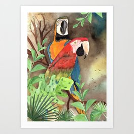 Parrot Couple with tropical leaves Watercolor Design Art Print