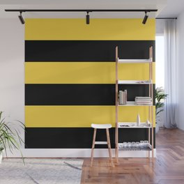 Even Horizontal Stripes, Yellow and Black, XL Wall Mural
