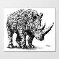 bioworkz Canvas Prints featuring Rhinoceros by BIOWORKZ