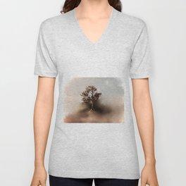 Misty Tree of Life on the Coastal Edge Unisex V-Neck