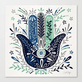 Hamsa Hand – Navy Palette Canvas Print