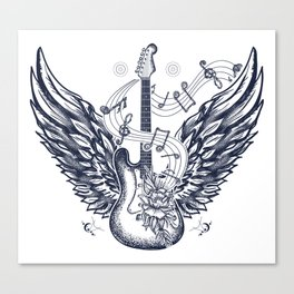 Guitar and wings Canvas Print