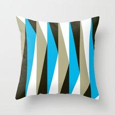 Blue Geometric Triangle Pattern Throw Pillow
