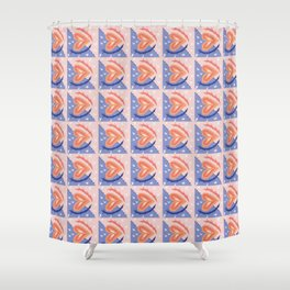 Blue and Pink Heart Geometric Pattern Shower Curtain