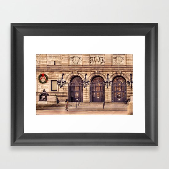 Christmas night at Boston Public Library Framed Art Print