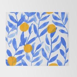 Tropical Lemons / Blue and Yellow Refreshing Lemon Print / Abstract Lemon Vibes / Summer Lemons Throw Blanket