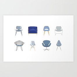 Set of Blue Midcentury Chairs Art Print