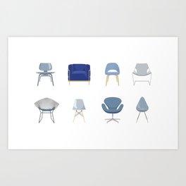 Set of Blue Midcentury Chairs Art Print