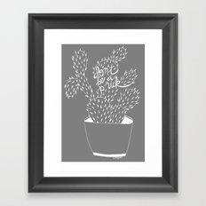 cactus in white Framed Art Print