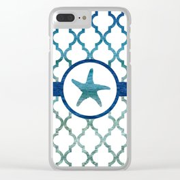 Starfish: Tropical Water Moroccan Pattern Clear iPhone Case