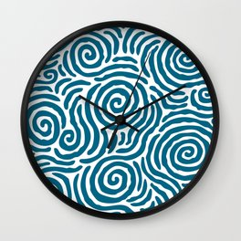 Ripple Effect Pattern Peacock Blue Wall Clock