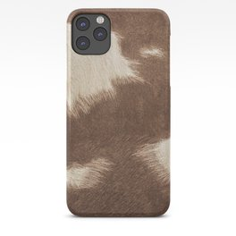 Cowhide Brown and White iPhone Case