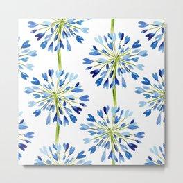 Heart Flower - Blue Metal Print