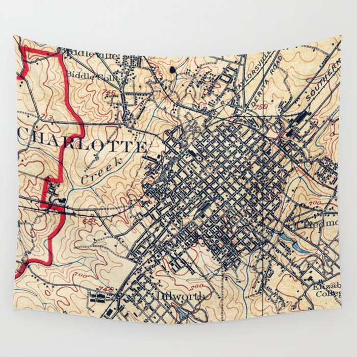 Vintage Map of Charlotte North Carolina (1905) Wall Tapestry by ...