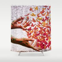 butterflies Shower Curtains featuring Butterflies by Lia Bernini