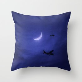 Aircraft Flying Night Moonlight Throw Pillow