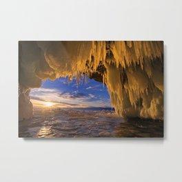 Russia Lake Winter Sunrise sunset Baikal Ice Nature frozen Metal Print