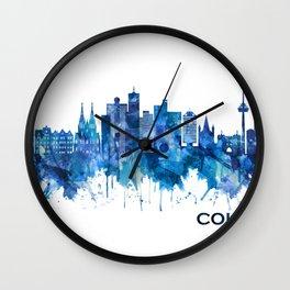Cologne Germany Skyline Blue Wall Clock