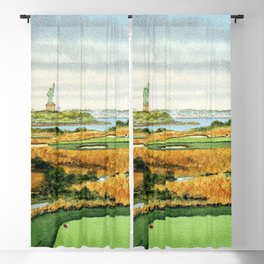 Liberty National Golf Course New Jersey 14th Hole Blackout Curtain