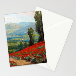 Red Poppies and Eucalyptus by Benjamin Brown Stationery Cards