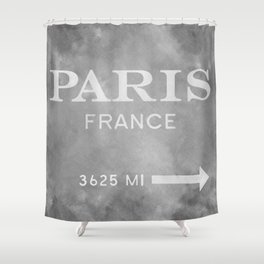 grey watercolor paris france Shower Curtain