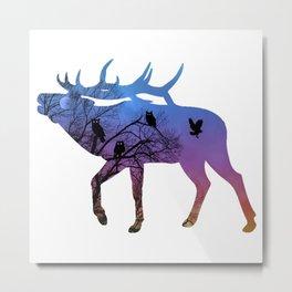 Night Wisdom Elk - Colorful Metal Print