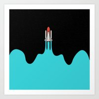 spaceship Art Prints featuring Spaceship by fortyfive